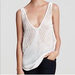 Helmut Lang Women's Crochet V-Neck Top Size Large